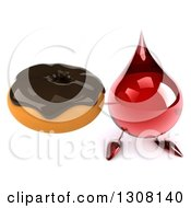 Clipart Of A 3d Hot Water Or Blood Drop Character Holding Up A Chocolate Frosted Donut Royalty Free Illustration