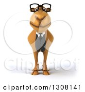 Clipart Of A 3d Bespectacled Business Camel Royalty Free Illustration