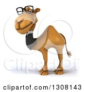 Clipart Of A 3d Bespectacled Business Camel Facing Left 2 Royalty Free Illustration