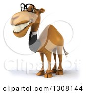 Clipart Of A 3d Bespectacled Business Camel Facing Left 3 Royalty Free Illustration