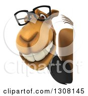 Clipart Of A 3d Bespectacled Business Camel Looking Around A Sign Royalty Free Illustration