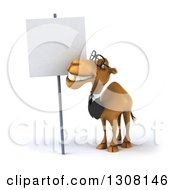 Clipart Of A 3d Bespectacled Business Camel Smiling At A Blank Sign Royalty Free Illustration