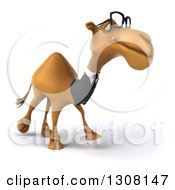 Clipart Of A 3d Bespectacled Business Camel Walking Slightly To The Right Royalty Free Illustration