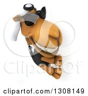Clipart Of A 3d Arabian Business Camel Wearing Sunglasses And Looking Around A Sign 2 Royalty Free Illustration