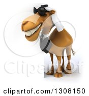 Clipart Of A 3d Arabian Business Camel Wearing Sunglasses And Looking Around A Sign 3 Royalty Free Illustration