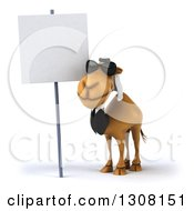 Clipart Of A 3d Arabian Business Camel Wearing Sunglasses By A Blank Sign Royalty Free Illustration