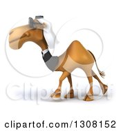 Clipart Of A 3d Arabian Business Camel Wearing Sunglasses And Walking To The Left Royalty Free Illustration