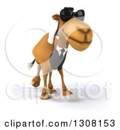 Clipart Of A 3d Arabian Business Camel Wearing Sunglasses And Walking Slightly To The Right Royalty Free Illustration