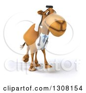 Clipart Of A 3d Arabian Doctor Camel Walking Royalty Free Illustration