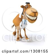 Clipart Of A 3d Arabian Doctor Camel Walking Slightly Right Royalty Free Illustration