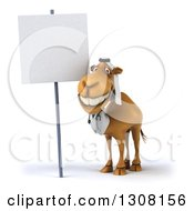 Clipart Of A 3d Arabian Doctor Camel By A Blank Sign Royalty Free Illustration