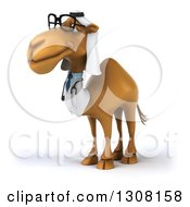 Clipart Of A 3d Bespectacled Arabian Doctor Camel Facing Left Royalty Free Illustration