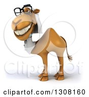 Clipart Of A 3d Bespectacled Arabian Doctor Camel Facing Left 3 Royalty Free Illustration