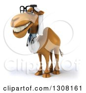 Clipart Of A 3d Bespectacled Arabian Doctor Camel Facing Left 4 Royalty Free Illustration
