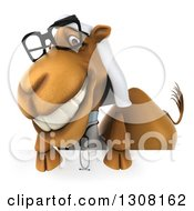 Clipart Of A 3d Bespectacled Arabian Doctor Camel Smiling Over A Sign Royalty Free Illustration