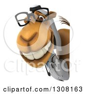 Clipart Of A 3d Bespectacled Arabian Doctor Camel Smiling Around A Sign Royalty Free Illustration