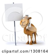 Clipart Of A 3d Arabian Camel By A Blank Sign Royalty Free Illustration