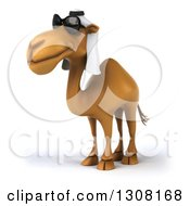 Clipart Of A 3d Arabian Camel Wearing Sunglasses And Facing Left Royalty Free Illustration
