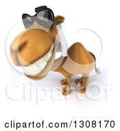 Clipart Of A 3d Arabian Camel Wearing Sunglasses Facing Left And Smiling Upwards Royalty Free Illustration