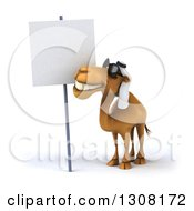 Clipart Of A 3d Arabian Camel Wearing Sunglasses And Looking At A Blank Sign Royalty Free Illustration