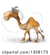 Clipart Of A 3d Arabian Camel Wearing Sunglasses And Walking To The Left Royalty Free Illustration
