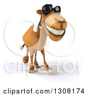 Clipart Of A 3d Arabian Camel Wearing Sunglasses And Walking Royalty Free Illustration