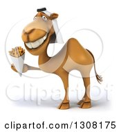 Clipart Of A 3d Arabian Camel Facing Left And Holding French Fries Royalty Free Illustration