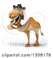Clipart Of A 3d Arabian Camel Wearing Sunglasses Facing Left And Eating A Waffle Ice Cream Cone Royalty Free Illustration