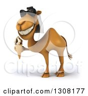 Clipart Of A 3d Arabian Camel Wearing Sunglasses Facing Left And Holding A Waffle Ice Cream Cone Royalty Free Illustration