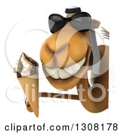Clipart Of A 3d Arabian Camel Wearing Sunglasses And Holding A Waffle Ice Cream Cone Around A Sign Royalty Free Illustration