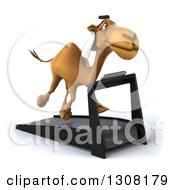 Clipart Of A 3d Arabian Camel Facing Slightly Left And Running On A Treadmill Royalty Free Illustration