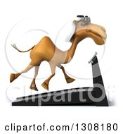 Clipart Of A 3d Arabian Camel Wearing Sunglasses Facing Left And Running On A Treadmill Royalty Free Illustration