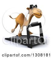 Clipart Of A 3d Arabian Camel Wearing Sunglasses Facing Slightly Left And Running On A Treadmill Royalty Free Illustration