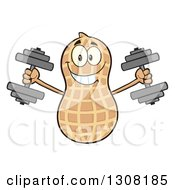 Clipart Of A Happy Peanut Mascot Character Working Out With Dumbbells Royalty Free Vector Illustration by Hit Toon