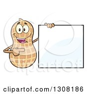 Clipart Of A Happy Peanut Mascot Character Holding And Pointing To A Blank Sign Royalty Free Vector Illustration by Hit Toon