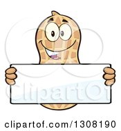 Clipart Of A Happy Peanut Mascot Character Holding A Blank Sign Royalty Free Vector Illustration by Hit Toon