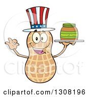Clipart Of A Happy American Peanut Mascot Character Gesturing Ok And Holding A Jar Of Peanut Butter On A Tray Royalty Free Vector Illustration