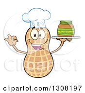 Clipart Of A Happy Chef Peanut Mascot Character Gesturing Ok And Holding A Jar Of Peanut Butter On A Tray Royalty Free Vector Illustration