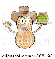 Clipart Of A Happy Cowboy Peanut Mascot Character Gesturing Ok And Holding A Jar Of Peanut Butter On A Tray Royalty Free Vector Illustration