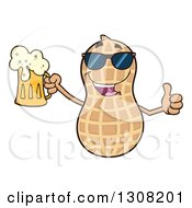 Clipart Of A Happy Peanut Mascot Character Wearing Sunglasses Giving A Thumb Up And Holding A Beer Royalty Free Vector Illustration by Hit Toon