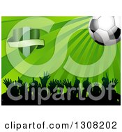 Clipart Of A 3d Soccer Ball Over Green Rays A Shield And Crowd Of Silhouetted Sports Fans Royalty Free Vector Illustration