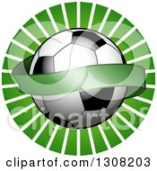 Clipart Of A Shiny Soccer Ball With A Blank Banner Over A Green Burst Royalty Free Vector Illustration