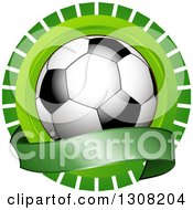 Clipart Of A Shiny Soccer Ball Over A Blank Banner Over A Green Burst Royalty Free Vector Illustration by elaineitalia