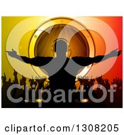 Clipart Of A Silhouetted Male Dj Over Dancing Fans And A Music Speaker On Gradient Royalty Free Vector Illustration