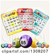 Clipart Of 3d Colorful Bingo Balls And Cards On Tan Royalty Free Vector Illustration