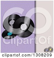 Clipart Of A Split Purple And Leather Background With Vinyl Music Records Royalty Free Vector Illustration by elaineitalia