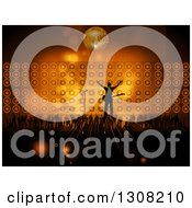 Clipart Of A Silhouetted Male Rock Star Musician Cheering On Stage With Fans Against Flares Speakers And A Disco Ball Royalty Free Vector Illustration