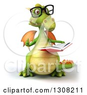Clipart Of A 3d Bespectacled Green Dragon Giving A Thumb Up And Reading A Book Royalty Free Illustration