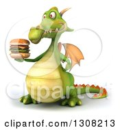 Clipart Of A 3d Green Dragon Facing Slightly Left And Holding A Double Cheeseburger Royalty Free Illustration