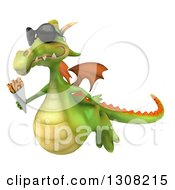 Clipart Of A 3d Green Dragon Wearing Sunglasses Flying Left And Holding French Fries Royalty Free Illustration